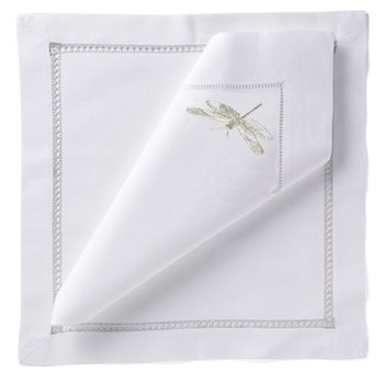 Dragonfly Set of 4 napkins, 54 x 54cm, silver