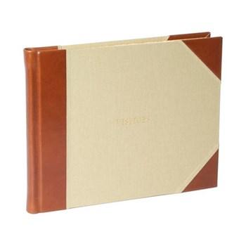 Tuscan Range Visitors book, 16 x 21.5cm, half bound leather