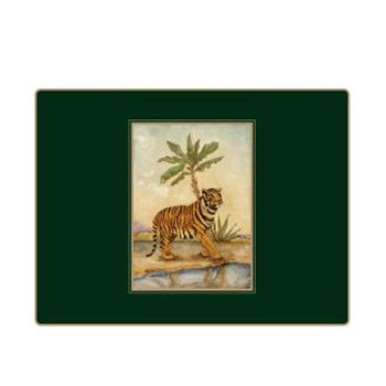 African Animals - Traditional Range Set of 4 continental placemats with frame line, 39 x 29cm, bottle green
