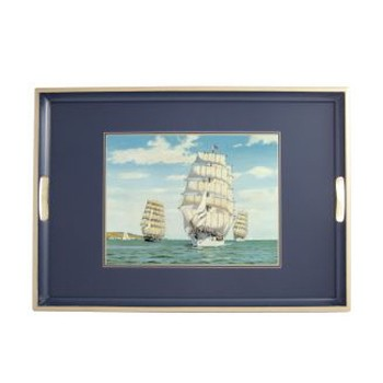 Tall ships - Traditional Range Traditional tray, 55 x 39.5cm, Oxford blue