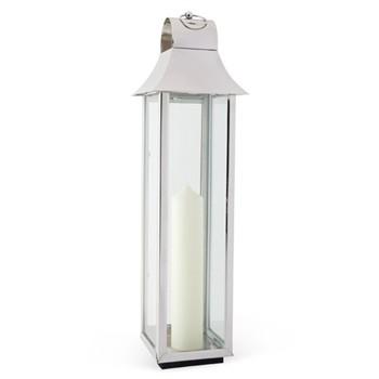 Tonto Lantern, 80 x 19 x 18cm, glass and nickel plate
