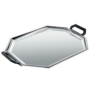 Ottagonale Tray, 47cm, mirror polished stainless steel with bakelite handles