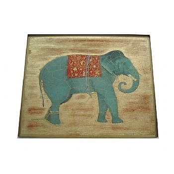 Elephant no.3 Tablemat rectanglular small, 20 x 25cm, gold leaf