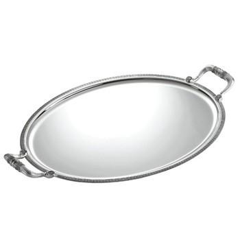 Malmaison Oval tray with handles, 52 x 41.5cm, Christofle silver