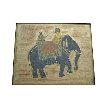 Elephant no.9 Tablemat rectanglular small, 20 x 25cm, gold leaf