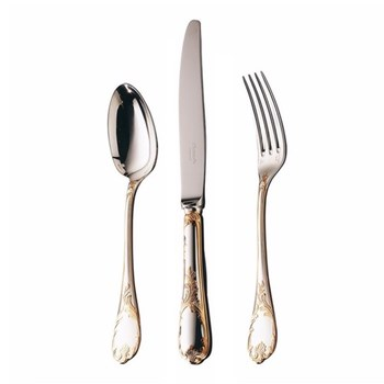 Marly Dinner spoon, Christofle silver with gold accent
