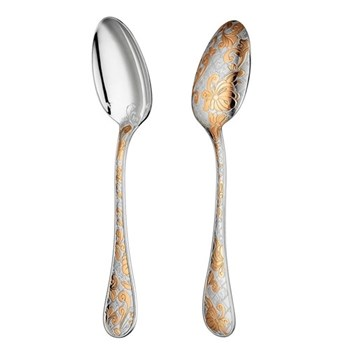 Jardin d'Eden Serving spoon, Christofle silver with gold accent