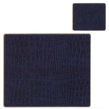 Croc Blue - Texture Range Set of 4 continental placemats with frame line, 39 x 29cm