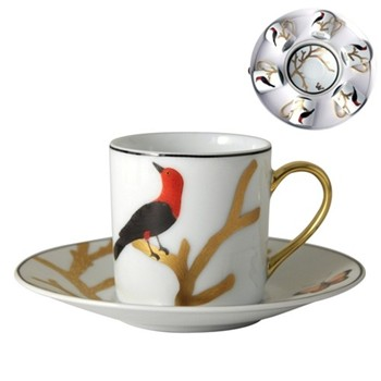Aux Oiseaux Set of 6 coffee cup and saucers in box