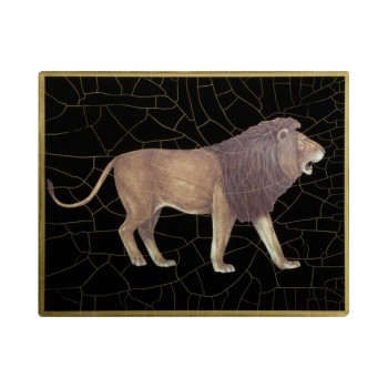 African Animals - Lion Coaster square, 10cm, black