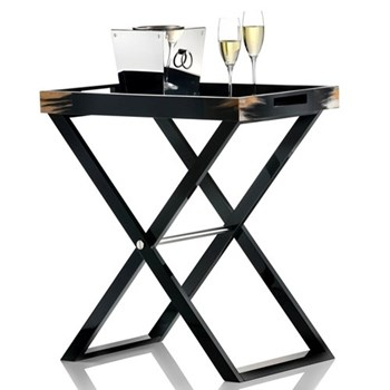 Butlers tray with stand, L70 x W46 x H77cm, dark horn and black lacquer
