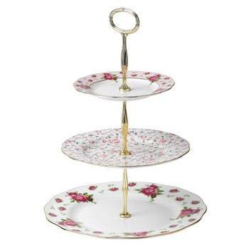 New Country Roses - Vintage 3 tier cake stand, white