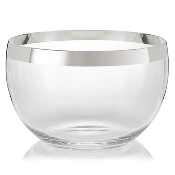 Exclusive Bowl, H14.5 x Dia 23cm, crystal and sterling silver
