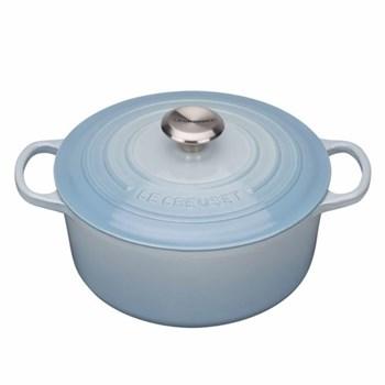 Signature Cast Iron Round casserole, 28 x 11cm - 6.7 litre, coastal blue