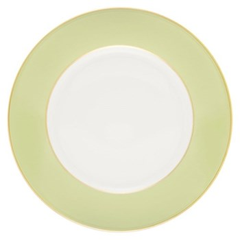 Sous le Soleil Charger plate, 30cm, pastel green with gold band