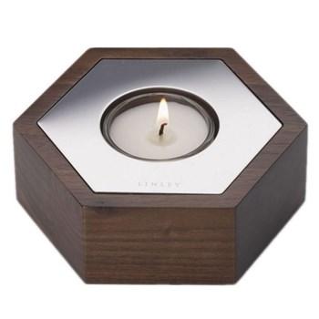 Hexagon Candle, W11.5 x D10 x H4cm, walnut