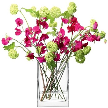 Flower Rectangular bunch vase, 22cm, clear