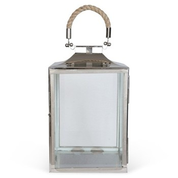 La Rochelle Lantern, 26 x 18 x 18cm, glass, nickel plate and rope
