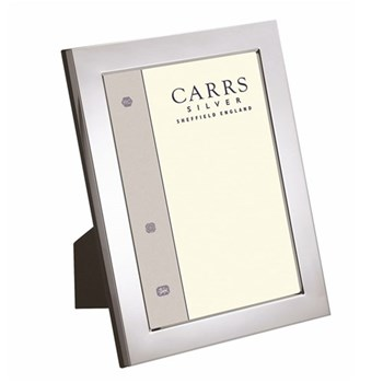 "Flat Series Photograph frame, 10 x 8"", silver plate with mahogany finish back"