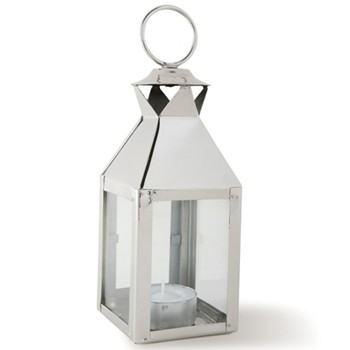 Mini square lantern, 19 x 6 x 6cm, glass and nickle plate