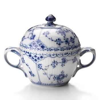 Blue Fluted Half Lace Sugar bowl and cover, 20cl