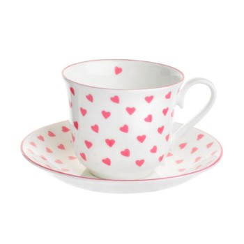 Pink Heart Teacup and saucer, 15 x 8.5cm