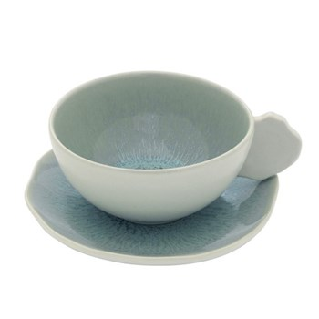 Plume Pair of teacups and saucers, 20cl, ocean blue