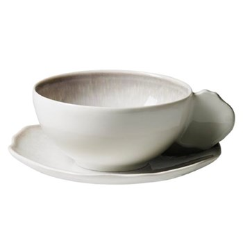 Plume Pair of teacups and saucers, 20cl, white pearl