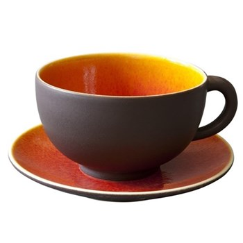 Tourron Pair of teacups and saucers, 18cl, orange