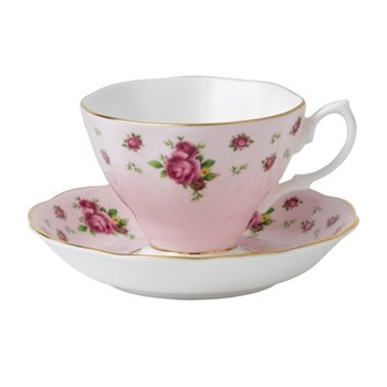 New Country Roses - Vintage Teacup and saucer boxed, pink