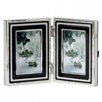 "Vera Wang - With Love Noir Photograph folding frame, 2 x 3"", silver plate"