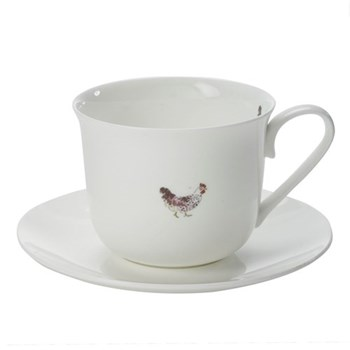 Chicken Set of 4 teacups and saucers, 45cl
