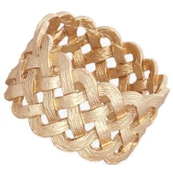 Braid Set of 4 napkin rings, gold