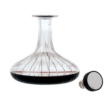 Trafalgar Captain's decanter, H24.5 x D21.5cm, crystal, rose wood and sterling silver