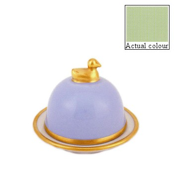 Sous le Soleil Duck butter dish, small, pastel green with gold band