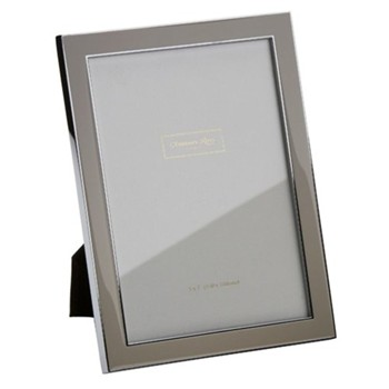 "Enamel Range Photograph frame, 4 x 6"" with 15mm border, taupe with silver plate"