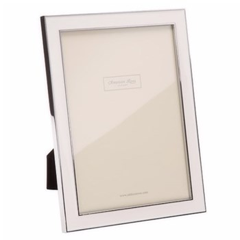 "Enamel Range Photograph frame, 4 x 6"" with 15mm border, white with silver plate"