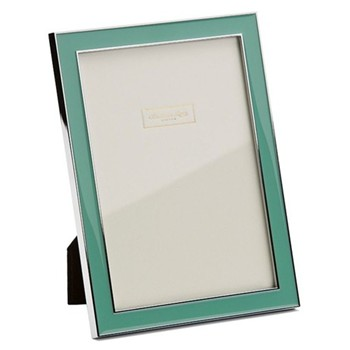 "Enamel Range Photograph frame, 4 x 6"" with 15mm border, duck egg with silver plate"