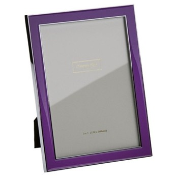 "Enamel Range Photograph frame, 4 x 6"" with 15mm border, purple with silver plate"