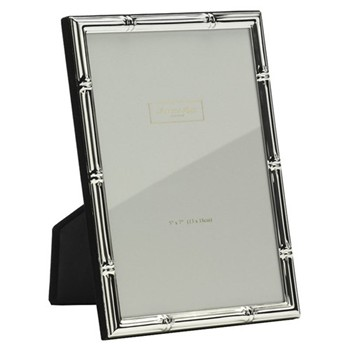 "Bamboo Photograph frame, 4 x 6"" with 10mm border, silver plate"