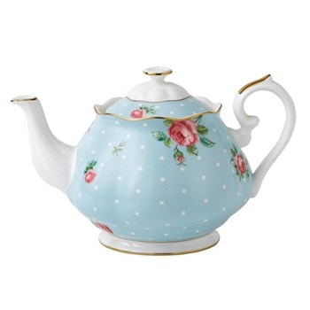 Polka Blue - Vintage Teapot, 1.25 litre