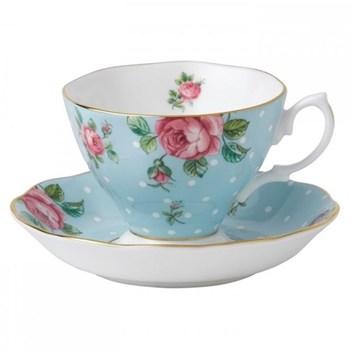 Polka Blue - Vintage Teacup and saucer