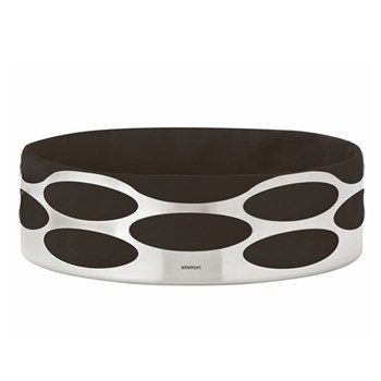 Embrace Bread tray, W23 x H7cm, satin stainless steel and black cotton