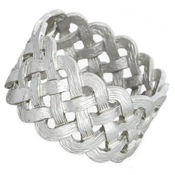 Braid Set of 4 napkin rings, platinum