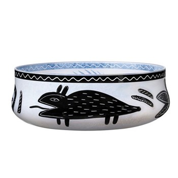 Caramba Low bowl, H9 x D26.5cm, white with print