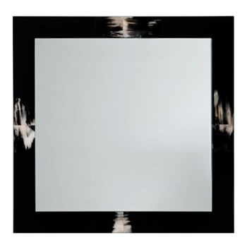 Square mirror, 100cm, horn and glossy black lacquer
