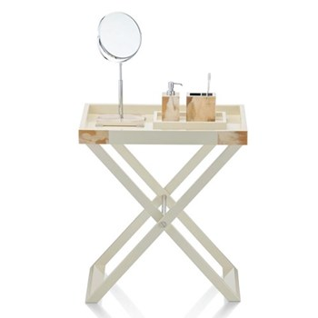Butlers tray with stand, L70 x W46 x H77cm, horn and glossy ivory lacquer