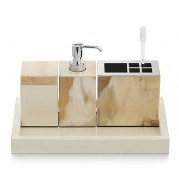 Bathroom tray, L32 x W19 x H3cm, ivory lacquered wood