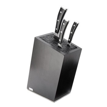 Knife block empty, black beech wood with synthetic bristle