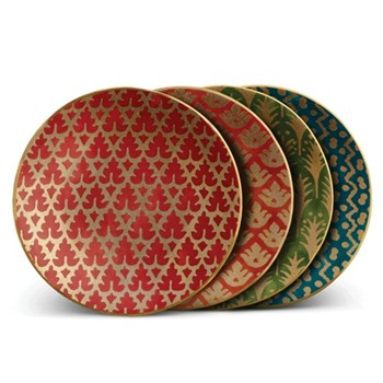 Fortuny Set of 4 canape plates, 15cm, assorted colours
